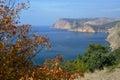 Balaklava in autumn crimea this is region sevastopol bright tree decorates seascape Stock Photos