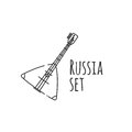 Balalaika icon in outline style isolated on white background. Russian country symbol. Vector illustration.