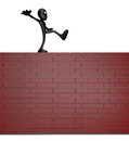 Balance cartoon guy balances on brick wall d illustration Stock Image