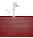 Balance cartoon guy balances on brick wall d illustration Stock Photos
