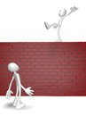 Balance cartoon guy balances on brick wall d illustration Stock Photography