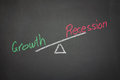 Balance of growth and recession a drawing depicting the on a blackboard Royalty Free Stock Photo