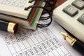 Balance sheet and accounting data. Royalty Free Stock Photo