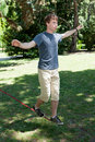 Balance on Slackline Royalty Free Stock Images