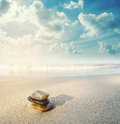 Balance stone on the beach in sunrise, vintage tone