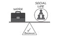 Balance between work and social life diagram working pictogram Royalty Free Stock Photos