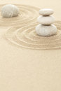 Balance zen stones in sand of three Royalty Free Stock Photo
