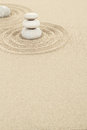 Balance zen stones in sand of three Stock Photography
