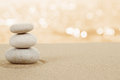 Balance zen stones in sand on white Stock Photos
