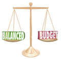 Balanced Budget 3d Words Scale Financial Costs Revenue Equal