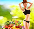 Balanced diet based on raw organic vegetables dieting Royalty Free Stock Photography