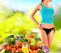 Balanced diet based on raw organic vegetables dieting Stock Images