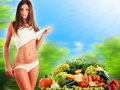 Balanced diet based on raw organic vegetables and fruits dieting Stock Photos