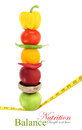 Balanced diet with fruits and vegetables Stock Photo