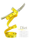 Balanced diet represented by a fork on measuring tape Stock Images