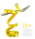 Balanced diet represented by a fork on measuring tape isolated white Stock Image