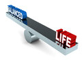 Balanced life concept and words on a chrome weighing scale over white Stock Photography