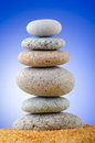 Balanced pebbles with  background Stock Photo