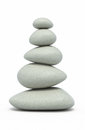 Balanced pebbles d render on white and clipping path Royalty Free Stock Photos