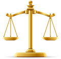 Balanced scale of justice on white with space for copy Royalty Free Stock Images