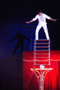 Balancing act at circus in Romania Royalty Free Stock Photo