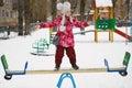 Balancing girl stand on teeter-totter