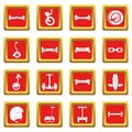 Balancing scooter icons set red