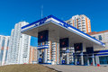 Balashikha russia april gas station on background of high rise buildings the Royalty Free Stock Image