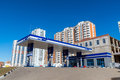 Balashikha russia april gas station on background of high rise buildings the Royalty Free Stock Photo