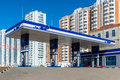Balashikha russia april gas station on background of high rise buildings the Stock Images