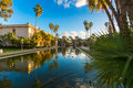 Balboa park reflecting pool the in san diego california at sunset Stock Photography