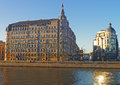Balchug street and moscow river reflection sunlight Stock Photography