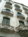 Balconies on building in barcelona showing intricate design Royalty Free Stock Photos