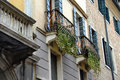 Balconies and building exterior in padua with ivy italy Stock Images
