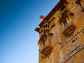 Balconies entrance jaisalmer fort rajasthan india Royalty Free Stock Photo