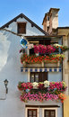 Balconies with flowers Stock Images
