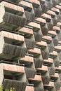 Balconies. Geometry. Wooden balconies of unfinished building