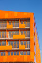 Balconies at a modern orange appartment building in groningen netherlands Stock Images