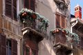 Balconies at old town houses in Verona Royalty Free Stock Image