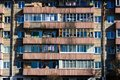 Balconies of a Post-Soviet House Royalty Free Stock Photo