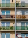 Balconies in a residential building many for number of parties city Royalty Free Stock Photo