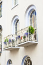 Balconies two attractive in an english town house Royalty Free Stock Image