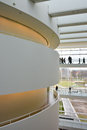 Balconies and walkways at aros art museum aarhus denmark interior view of the modern with the elevated lit by delicate yellow Royalty Free Stock Photo