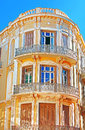 Balcony on the corner of building in Athens Royalty Free Stock Photo