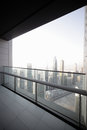 Balcony in dubai skyscraper high end downtown of Royalty Free Stock Photography
