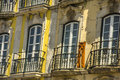 Balcony in Lisbon, Portugal. Royalty Free Stock Photo