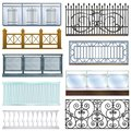 Balcony railing vector vintage metal steel fence balconied decoration architecture design illustration set of classical