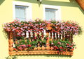Balcony with red and pink flowers on wooden Stock Photography