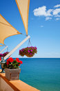 Balcony with sea view beautiful mediterranean Stock Image