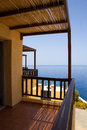 Balcony with sea view in greece beautiful Royalty Free Stock Image